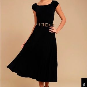 A LA MODE BLACK MIDI DRESS - Lulu's